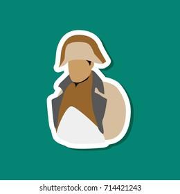 paper sticker on stylish background Napoleon