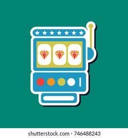 paper sticker on stylish background slot machine