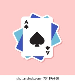 paper sticker on stylish background of poker playing cards