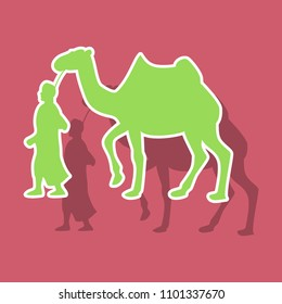 paper sticker on theme Arabic business bedouin with a camel