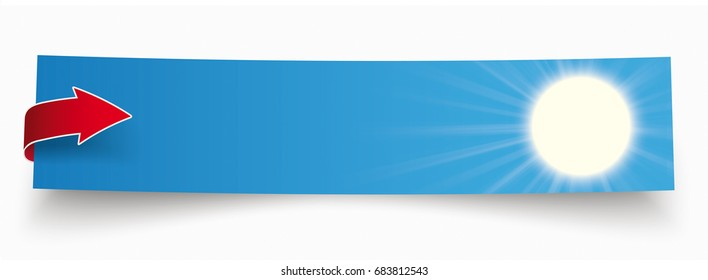 Paper sticker with red arrow and blue sky and sun. Eps 10 vector file.