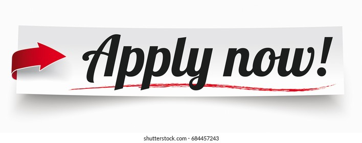 "Paper sticker with red arrow and text ""apply now"". Eps 10 vector file."