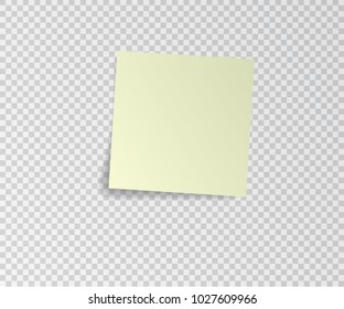 Paper sticker with shadow on transparent background. Vector illustration.