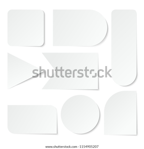 Paper Stickers Blank White Labels Tags Stock Vector (Royalty