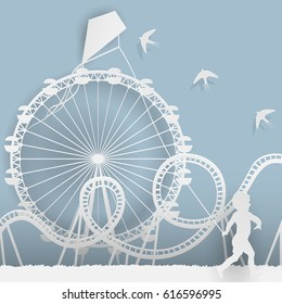 Paper style art - an amusement park, fun, a Ferris wheel, a roller coaster and a boy with a kite.