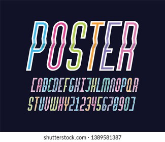 paper style font design, alphabet letters and numbers with a col