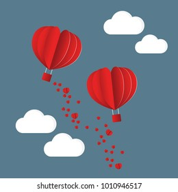 Paper Style love of valentine day , balloon flying over cloud with heart float on the sky, vector