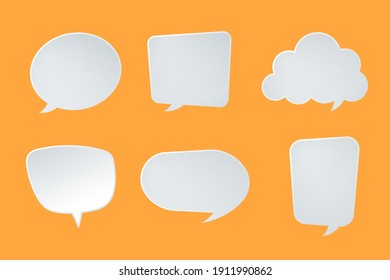 Paper style speech balloon template Vector illustration.