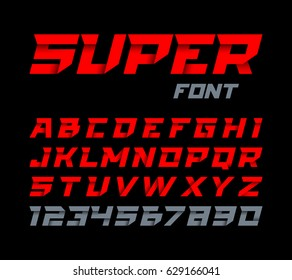 Paper style Super font. Italic type, alphabet and numbers