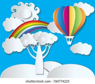Paper style vector - landscape with rainbow and balloon. Paper colourful balloon