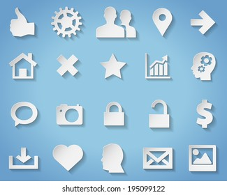 Paper symbols and icons with transparent shadow for any background - vector illustration