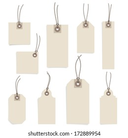 Paper tag set on white background. Vector eps-10.