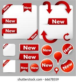 paper tags, labels & web design elements