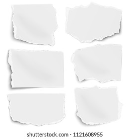 Paper tears of different shapes set isolated on white background. Vector paper template.