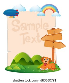 Paper template with dog in park illustration