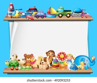 Paper template with toys on shelves illustration