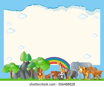 Paper template with wild animals illustration