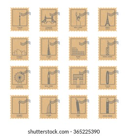 paper texture postage stamp set with thin line biggest cities famous landmarks and buildings. vector illustration in retro style