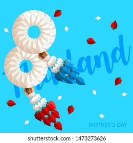 Paper Thai Jasmine Garland Set.Thailand Mother's day. Illustration of Thai art, Color Garland vector Design isolated.-EPS10