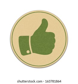 Paper thumb up sticker isolated on white background