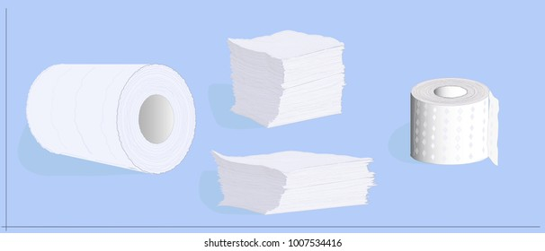 Paper tissue rolls and stacked paper napkins. Hygienic disposables - white kitchen towels, napkins and toilet paper. Set of rolls and stacks.