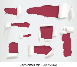 Paper torn holes vector illustration of realistic ragged or ripped white page sides or banners with curls texture and shadows on red background