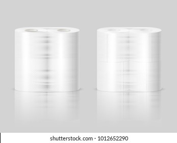Paper towels or tissue toilet rolls standing on polished surface 2 realistic images gray background vector illustration