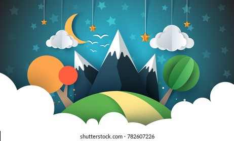 Paper travel illustration sun, cloud, hill, mountain bird Vector eps 10