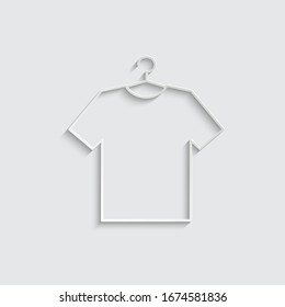 paper  Tshirt icon   on the hanger. dress vector icon. clothing icon dress
