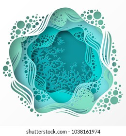 Paper underwater sea cave with coral reef, seabed in algae, waves. Paper cut deep style vector.  Deep blue marine life, diving concept. Ocean wildlife. Origami style