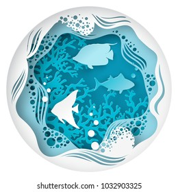Paper underwater sea cave with fishes, coral reef, seabed in algae, bubbles and waves. Paper cut deep style vector.  Deep blue marine life, diving concept. Ocean wildlife