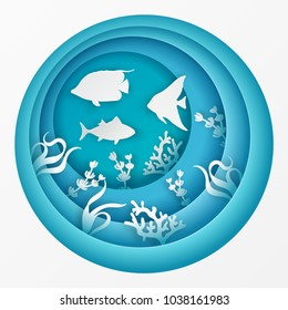 Paper underwater sea cave with fishes, coral reef, seabed in algae. Paper cut deep style vector.  Deep blue marine life, diving concept. Ocean wildlife