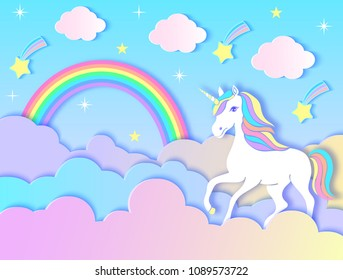 Paper unicorn, clouds,rainbow and stars on violet gradient background.Vector illustration.