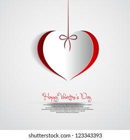 Paper Valentines heart theme card - Happy Valentine's day