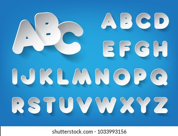 Paper vector font in minimalism style. Decorative white paper alphabet with shadow on a blue background. Vector illustration.