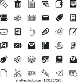 paper vector icon set such as: film, management, salon, offer, investment, editable, super, season, hair, apple, list to do, transport, remove, briefcase, shear, snacks, paper product, article, tally