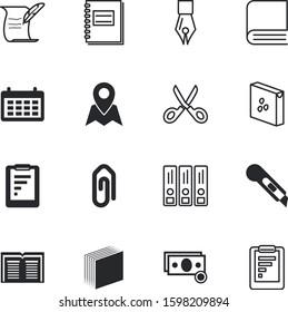 paper vector icon set such as: attach, supplies, barber, pay, cereal, poetry, bakery, board, feather, communication, folder, sticker, wire, papers, information, taking, financial, quill, seeds