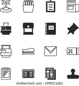 paper vector icon set such as: beautiful, San Francisco, one, bookstore, fast, pin, e-mail, graph, communication, blank, blue, stapling, water, secretary, university, product, staple, stapler, island