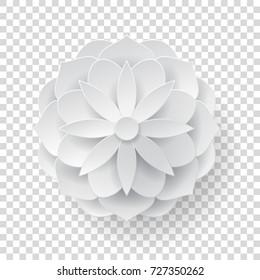 Paper volume flower transparent background. Paper volume flower on a transparent background for designers and illustrators. A bulk plant in the form of vector illustration