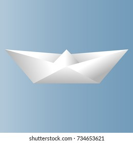 Paper volumetric ship of white color. Vector drawing. Isolated.
