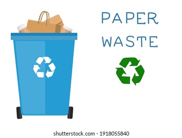 Paper waste.Recycling ecology problem isolate on white background objects collection. Vector illustration.
