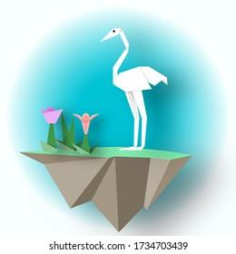 White Flamingo Papier mit Baum auf einer fliegenden Insel, Origami Stil, eleganter dekorativer Hintergrund, isolierte Objekte, 3D-Schnitt Papierelemente, Vector Illustration Art Design