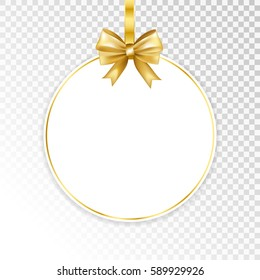 Paper white frame with gold bow isolated on transparent  background. Vector illustration.