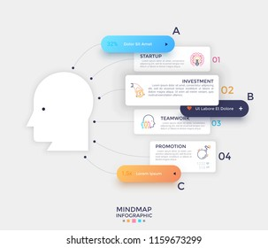Paper white silhouette of human head, linear pictograms and text boxes connected to it by lines. Concept of mind map or scheme. Creative infographic design template. Vector illustration for brochure.