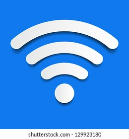 paper wifi on a blue background