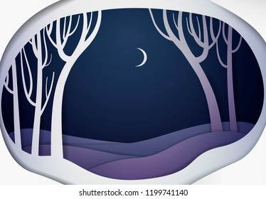 Paper winter forest night landscape, paper winter fairy tale background, vector