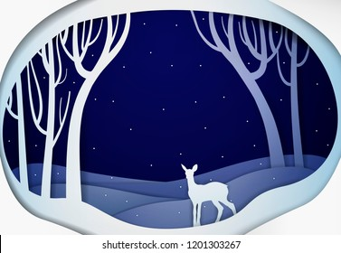 Paper winter forest night landscape with young deer, paper winter fairy tale background with bambi, vector