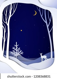 Paper winter forest night landscape with young deer and Christmas tree, paper winter fairytale background with bambi, vector