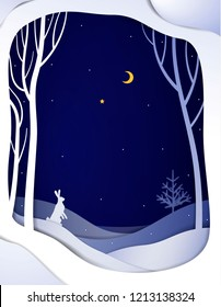 Paper winter forest night landscape with white hare and Christmas tree, paper winter fairytale background , vector