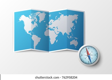 Paper world geographic map with 4 lettered pins and magnetic compass. Concept of touristic or geographic locations, navigation, destination points. Creative vector illustration for website, banner.